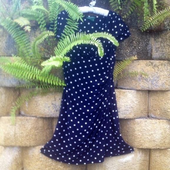 Lauren Ralph Lauren Dresses & Skirts - *SOLD* Navy blue and white polkadot dress